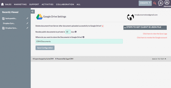 Google Drive SuiteCRM Integration Configuration