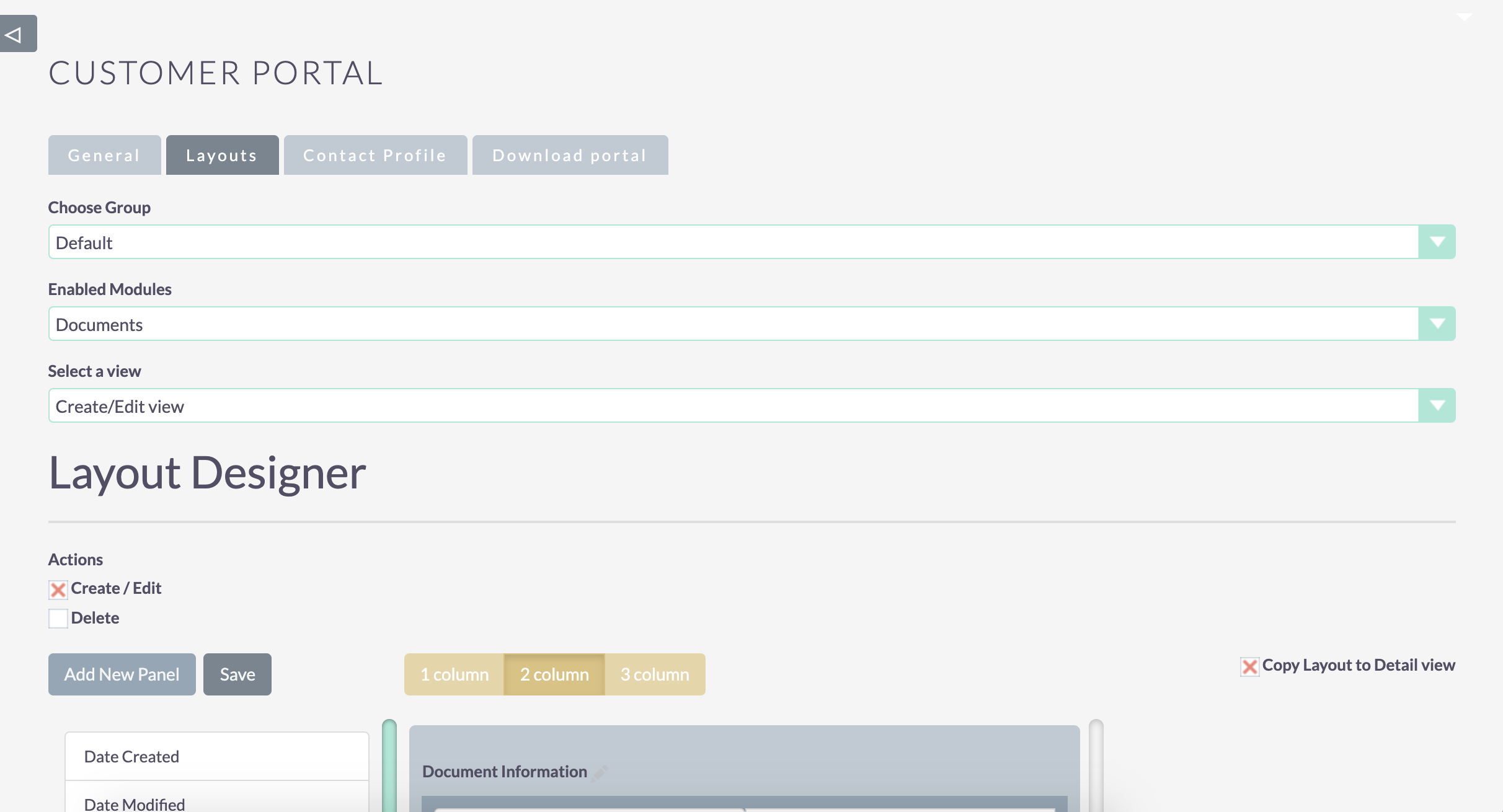 Customer Portal Layout Configuration - 1