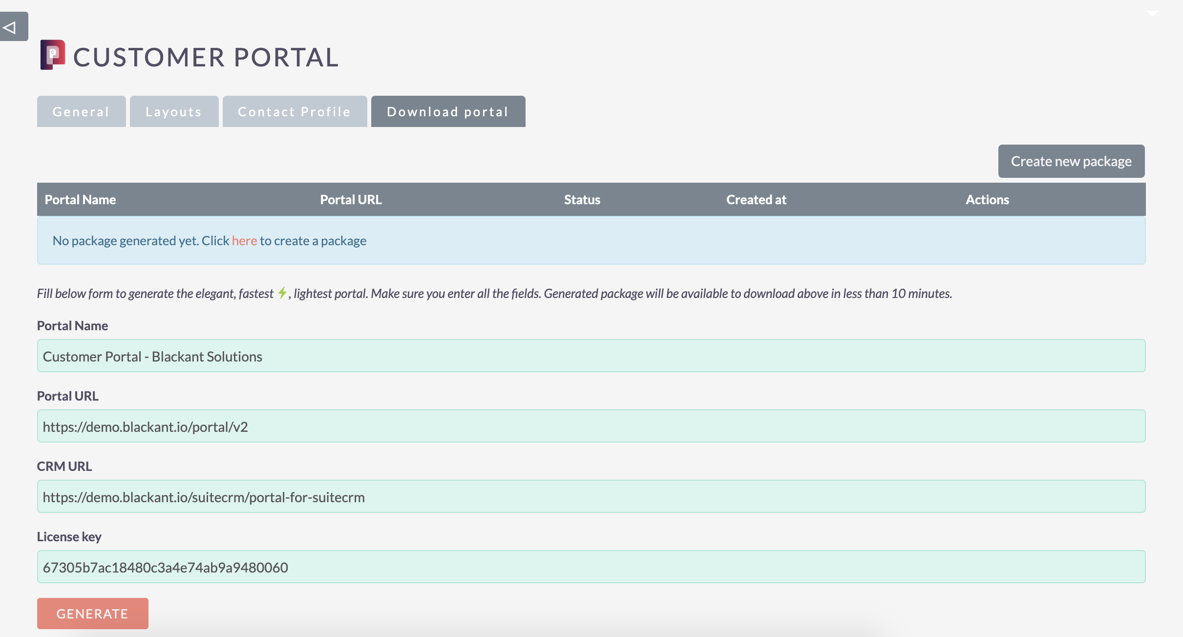 Customer portal for SuiteCRM - Package generation