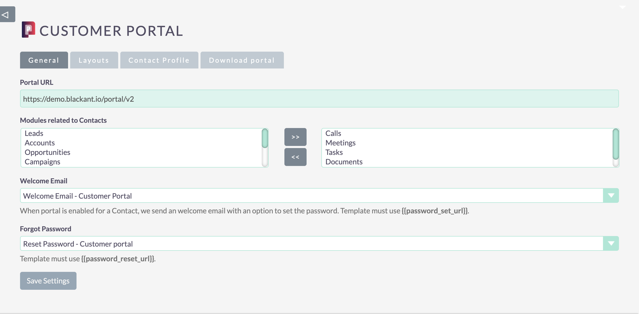 Customer portal for SuiteCRM – Settings page